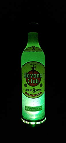 Havana Club - Flaschen Lampe mit LED Podest Frost Upcycling Geschenk Idee