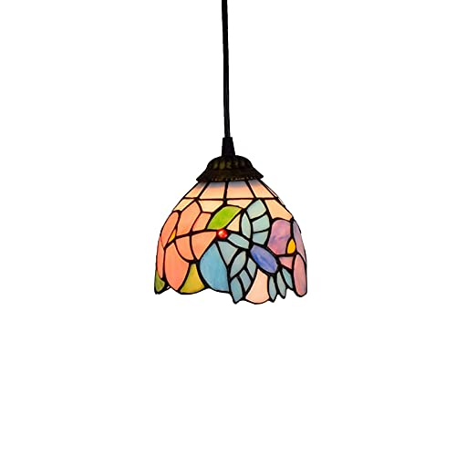 ZHANGDA 6-Zoll-Pendelleuchte Tiffany-Stil Glasmalerei Hängelampe Decke Pendellampe Kronleuchter für Esszimmer Küche dekorative Beleuchtung, E27 (Farbe: Kolibri)