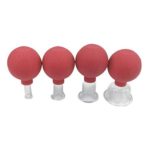 Hellery 4 paquetes de vidrio comodidad médica seguridad profesional ventosa al vacío para masaje cara pierna brazo cara espalda China terapia - Rojo