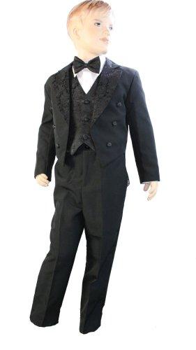 Costume de smoking 5 pièces pour bébé garçon avec dos en queue Noir Gilet Veste avec queue, pantalon, nœud papillon et chemise (23 mois)