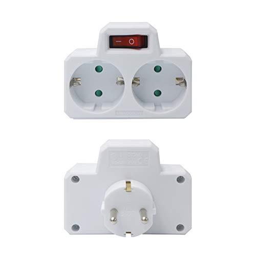 Mehrfachstecker weiß mit Schalter - Steckdosen-Adapter mit Kindersicherung, Doppelstecker, für Büro, Zuhause oder auf Reisen, 2 Stück