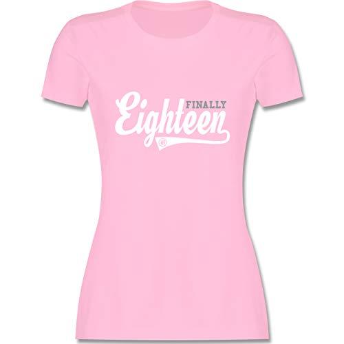 Geburtstag - Finally 18 College Stil - M - Rosa - endlich 18 - L191 - Tailliertes Tshirt für Damen und Frauen T-Shirt
