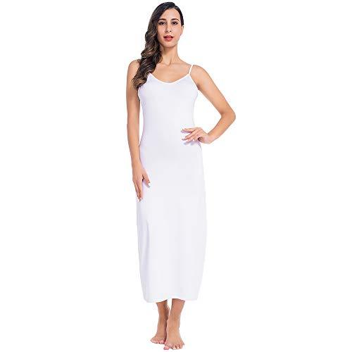 MANCYFIT Long Slips for Under Dresses Full Length Adjustable Spaghetti Strap Nightgown White Medium