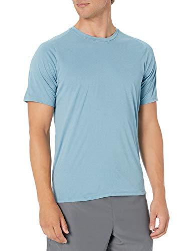 Hurley Men's Nike Dri-Fit Short Sleeve Sun Protection +50 UPF Rashguard, Noise Aqua Heather, L