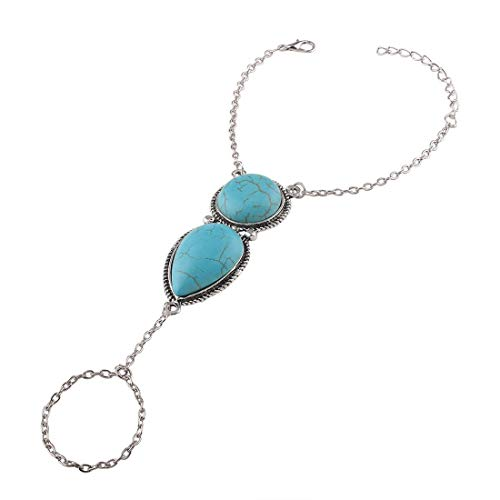 Cikuso Boho Türkis Handgeschirr Armband Armreif Armreif Slave Chain Link Finger Ring Armband (Blau)