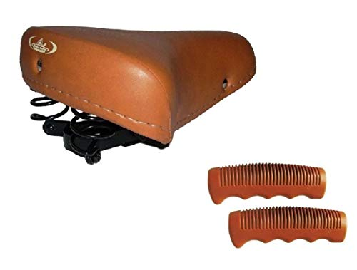 MONTEGRAPPA Sella Molle + Manopole Ideale Graziella Olanda Bici Donna/Uomo - Colore Miele/Marrone
