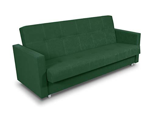 Schlafsofa Bettsofa Dave - Sofa mit Schlaffunktion und Bettkasten, Bett, Farbauswahl, Schlafcouch, Couch vom Hersteller, Couchgarnitur (Grün (Suedine 76))