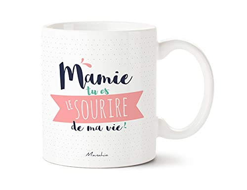 Taza con texto en francés «Mamie tu es la sonrisa de mi vida», con caja de regalo   Manahia   Impresa en Francia   Día de la Abuela, regalo de mamá