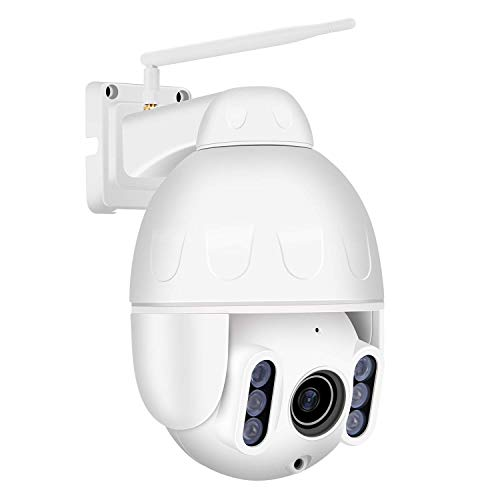 Dericam - Telecamera IP wireless, WiFi PTZ, impermeabile, per esterni, 1080P, Full HD, zoom ottico 4X, orientabile / inclinabile / zoom, visione notturna
