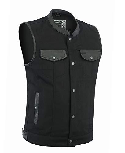 HIGHWAY LEATHER Denim Black Motorcycle Vest (L)