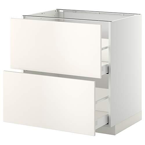 MAXIMERA/METOD base cb 2 frentes/2 cajones altos 80x61.6x88 cm blanco/Veddinge blanco