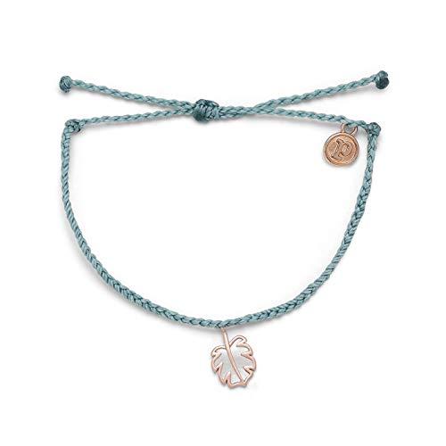 Pura Vida Rose Gold Mother of Pearl Monstera Bracelet - 100% Waterproof, Adjustable Band - Smoke Blue