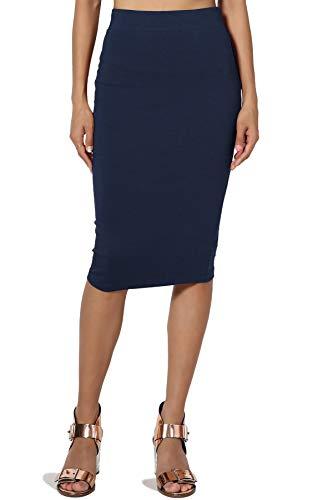 TheMogan Women's Stretch Cotton Elastic High Waist Pencil Midi Skirt, Z62 Navy, Large