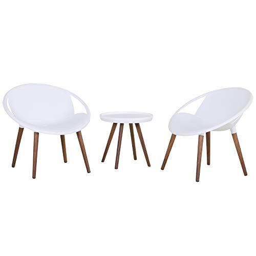 Salon de Jardin 2 pers. 3 pièces - Ensemble Bistro Design scandinave - 2 fauteuils Lounge + Table Basse - Pieds Imitation Bois Plastique PP Blanc