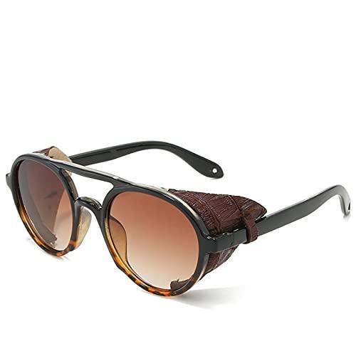 AMFG Gafas de sol para hombre Tendencia de la personalidad Marco redondo Gafas de sol de moda Gafas de sol Fotografías de viaje al aire libre (Color : B)
