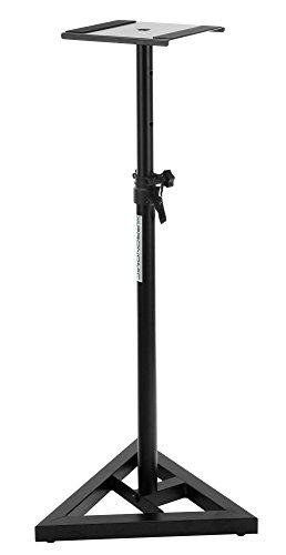 Pronomic SLS-10 Stativ für Studio Monitor Ständer (Höhenverstellbar 80 cm bis 130 cm, Dreiecksbasis, Gummifüße, Dornenfüße / Spikes, Stahl, Trägerplatte mit Gummistreifen) Schwarz pulverbeschichtet