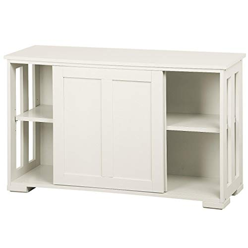 Yaheetech Aparador Buffet con Puerta Corredera 106 x 33 x 63 cm Blanco Armario de Salón para Cocina Sala de Estar Muebles de Salón Gabinete para TV