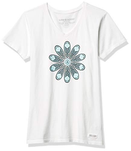 Life Is Good T-Shirt à col en V pour Femme Motif Floral Blanc Taille XS