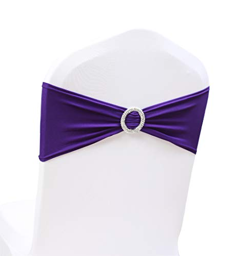 SheYang 100PCS Dark Purple Stretch Chair Sashes Bows Elastic Chair Bands with Buckle Slider Sashes Bows for Wedding Hotel Banquet Birthday Party Decorations (100PCS, Dark Purple)