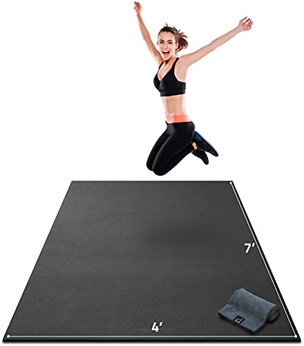 """Premium Extra Thick Large Exercise Mat - 7' x 4' x 8mm Ultra Durable, Non-Slip, Workout Mats for Home Gym Flooring - Cardio, Plyo, MMA, Jump Mat - Use with or Without Shoes (84"""" Long x 48"""" Wide)"""