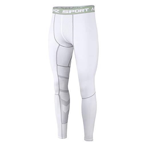 AMZSPORT Herren Sport Kompressionshose Laufhose Baselayer Leggings Trainingshose - Weiß L