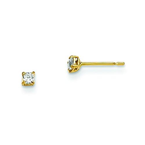 14k Yellow Gold 2mm Square Cubic Zirconia Basket Set Stud Earrings
