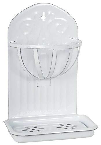BJYX Seifenschale Seifenablage Emaille Weiß 2tlg Seifen-Korb Halter Landhaus Shabby