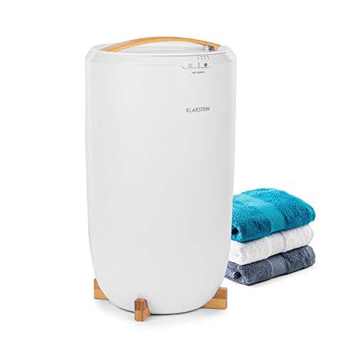 Klarstein Cozy Wonder Calentador de toallas - Diseño compacto, 20 litros de volumen, 400 W de potencia, temporizador de 15/30/45/60 minutos, Enrollador de cable, Patas de bambú, Blanco
