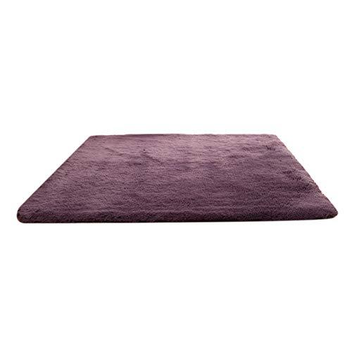 Mothcattl Alfombra moderna de pelo largo antideslizante, suave, para sala de estar, dormitorio, peludo, alfombra para el suelo, decoración del hogar, 4,5 cm de grosor, gris, morado, 50 x 80 cm