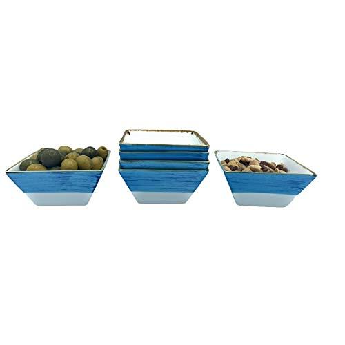 Cuenco Plato Aperitivo apilables cerámica Porcelana 6 piezas, Salsas, Postres, Recipiente estilo vintage pintado a mano 11 x 5.5 x 5.5 cm (250 ml) (Azul)