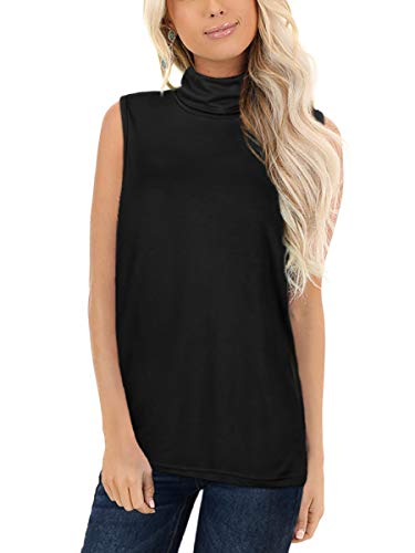WFTBDREAM Womens Turtleneck Plus Size Pullover Tunic Tops Fall Soft Basic Solid Color Black Tanks