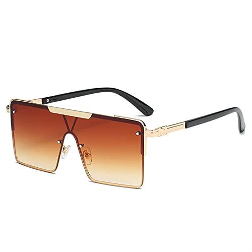 AMFG Gafas de sol de una sola pieza cuadrada de metal Trendy Big Frame Gafas de sol para hombres y mujeres (Color : C)