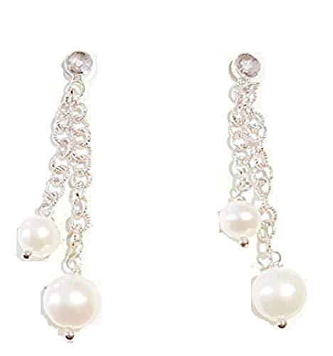 Orecchini donna Miluna perle e diamanti in oro bianco 750% pendenti