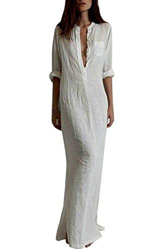 Women Vestido Casual Algodón de Lino Cuello en V Profundo Maxi Vestidos Largos Verano