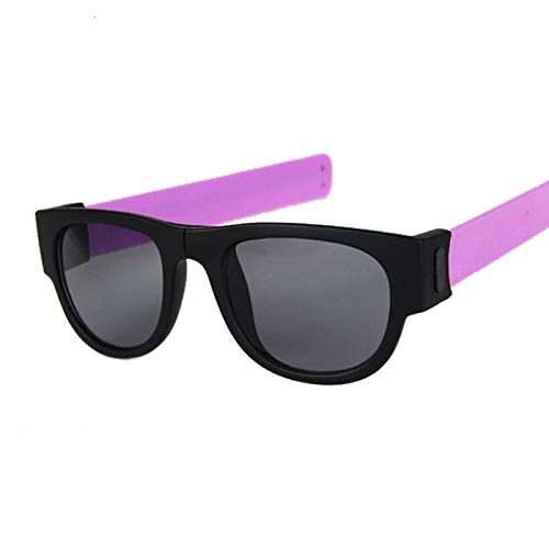QYV Pulsera Plegable Slap, Gafas de Sol Deportivas para Mujer, Pulsera Slappable, Gafas de Sol, Pulsera para Hombre, Gafas Plegables,Black Purple