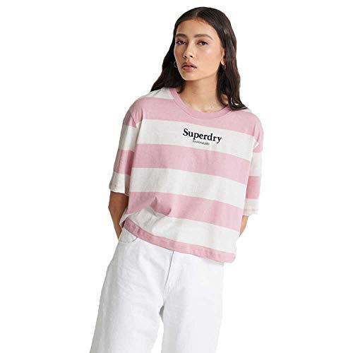 Superdry Damen Kastenförmiges Harper T-Shirt mit Streifen Zart Pink 38