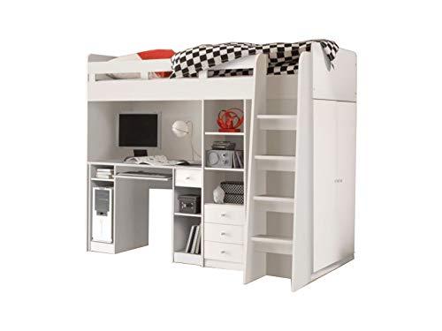 Jugendmöbel24.de Hochbett Enri 90 * 200 cm weiß mit Drehtürenschrank und Schreibtisch Regal Kleiderschrank Kinderzimmer Spiel Multifunktions Kinderbett