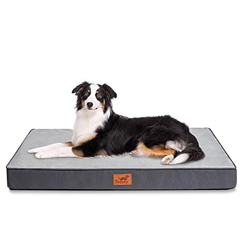 Toozey Cama para Perros Grandes/Medianos/Pequeños con Funda Extraíble Lavable, Cama Ortopédica Impermeable con Forma Huevo para Perros, Cama Colchón Transpirable para Mascotas, 90x70x8cm, Gris Oscuro