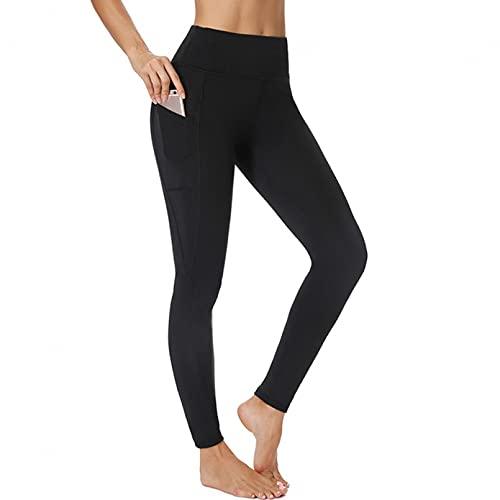 YSDSBM 3/4 Pantalones de Yoga para Mujer Pantalones hasta la Pantorrilla Pantalones Capri Leggings Deportivos Mujeres Fitness Yoga Gimnasio Leggins de Cintura Alta Negro