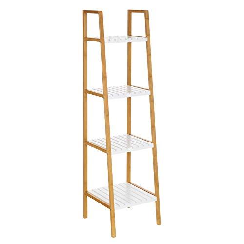 Estantería de 4 baldas nórdica Blanca de bambú para baño Basic - LOLAhome
