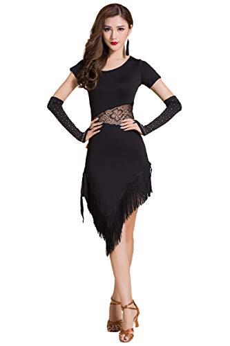 Jonact Mujer Vestido de Danza Latino - Borla Vestido de salón de Baile Malla Encaje Manga Larga/Corta con Calzoncillos para Salsa Tango