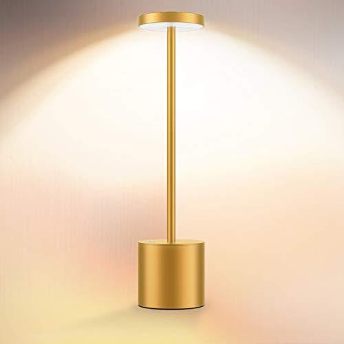 Cordless Table Lamp, LED Metal USB Rechargeable 6000mAh 2-Levels Brightness Night Light Desk Lamp Reading Lamp for Restaurant/Bedroom/Dormitory (Gold)