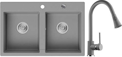 Granitspüle Grau 78 x 50 cm, Spülbecken + Küchenarmatur + Siphon Automatisch, Küchenspüle ab 80er Unterschrank in 5 Farben mit Armatur Varianten, Einbauspüle von Primagran