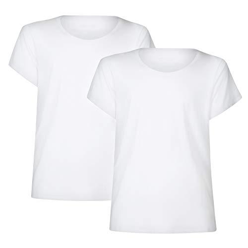 Camiseta para Mujer, Cuello Redondo o en Pico, Ligera, Transpirable y Suave, Manga Corta, Pack de 2 (Cuello Redondo - Blanco, L)