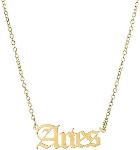 huangxuanchen co.,ltd Collar Collar 12 Constelaciones del Zodiaco Collar para Mujeres Hombres Virgo Libra Escorpio Sagitario Capricornio Acuario Regalo De Cumpleaños