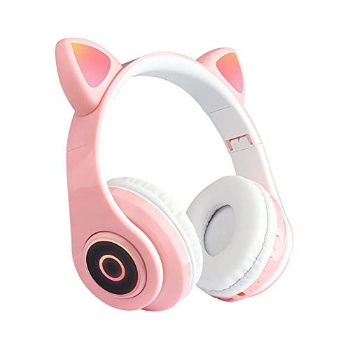 Shunxiang Rosa Katzenohr-Headset Bluetooth 5.0 Headset LED-Licht leuchtet drahtlos Bluetooth