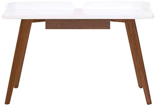 Amazon Marke -Rivet Computertisch für Arbeitszimmer, geschwungenes Holz im Stil der 1950er Jahre, Mix aus Nussbaum und weißem Klavierlack