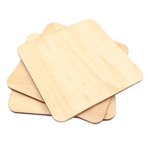 Prosperveil - 10 fogli quadrati in legno, per lavori artistici pirografici fai da te, non finiti, per costruire modellini di case e velivoli 20 x 20 x 2 mm