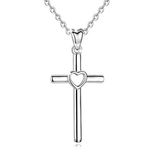 CELESTIA Collares de Cruz Corazon Mujer Plata de Ley 925 Crucifijo Colgante con 46CM Cadena, Joyería Espiritual, Bautizo/Primera Comunicacion/Confirmación Regalo para Mujeres Niñas