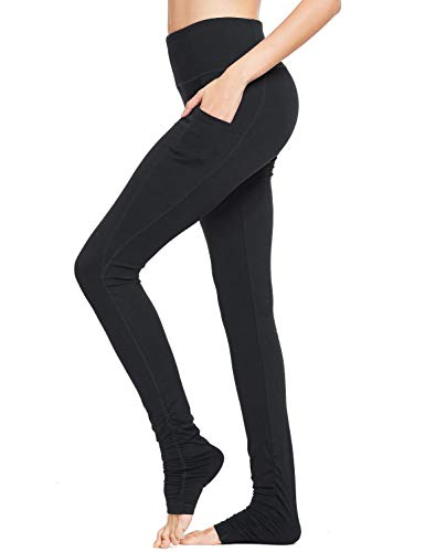BALEAF Tall Women's Goddess Long Yoga Pants Barre Dance Over The Heel High Waisted Leggings Extra Long Pockets Black M